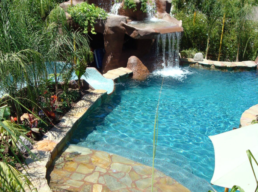 Designer Jade pool with slide and baja bench